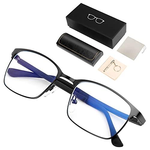 【最新改良】ブルーライトカットメガネ 度なし【眼科検査技師推薦】 ブルーライトカット眼鏡 度なし 超軽量 おしゃれ ウェリントン 男女兼用 JIS規格 43% UV99% Tr90 パソコン用 だてめがね 伊達メガネ パソコン用メガネ(ブラック)