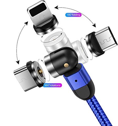 Câble de Charge magnétique Câble USB magnétique 3 en 1 Câble de Charge Rotatif à 360° + 180° Câble magnétique tressé en Nylon 2,4A 1M/2M/3M Compatible avec Micro USB,Type C/USB C,Phone,Appareils