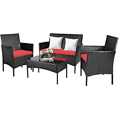 Tangkula 4 PCS Patio Furniture Set, Outdoor Wicker Conversation Set with Tempered Glass Coffee Table, Rattan Sofa & Chairs Set with Comfortable Seat Cushions for Backyard, Garden, Poolside (1, Red)