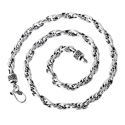 WOZUIMEI Collar de Estilo Chino S925 Joyería de Plata Esterlina Cadena de Cuerda de Cáñamo Trenzada Patrón de Paz Collar Dominante Masculino Collar Accesorios Retro55cm