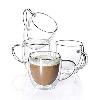 Sweese 415.101 Glass coffee mugs - 4PCS Double Wall Insulated Glass Coffee Tea Cup Set with Handle, Perfect for Espresso, Latte, Cappuccino, 8 oz