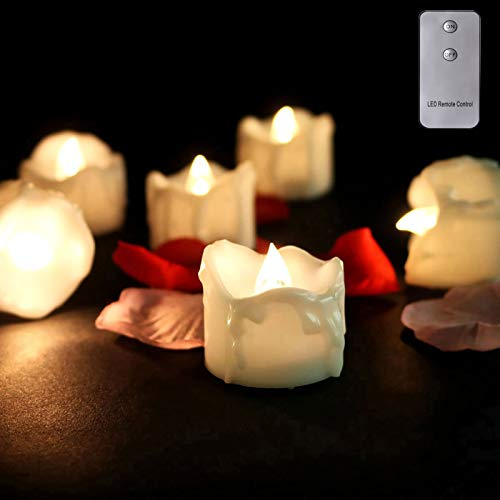 ZZFF Flameless LED Candles SET,Flickering Tea Lights With Remote Control,Decorative Electric Tea Lights For Wedding Party Celebration Christmas Dinner Decor-White 12 packs