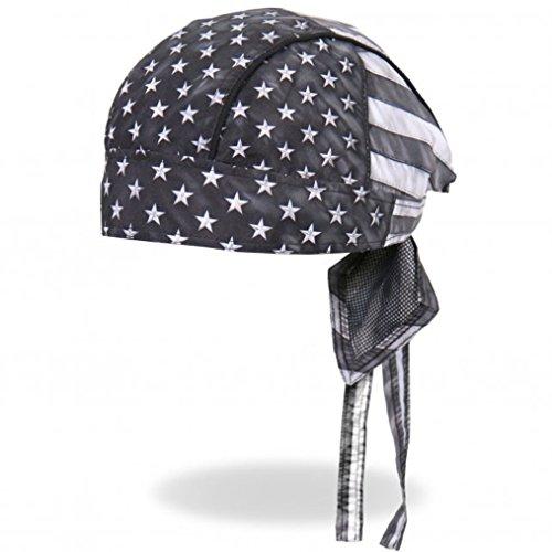 Hot Leathers Distressed USA American Patriotic Flag Black Gray White Head Wrap Durag Biker