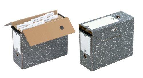 NIPS 152537124 Archiv-Box für Hängemappen, 12 x 33.5 x 27.5 cm, 2-er Packung, anthrazit/weiß