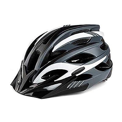 MOKFIRE Bike Helmet with Rechargeable USB Light Detachable Visor, Bicycle Cycling Helmet for Road Biking Helmets for Adult Men Women Adjustable Size 22.44-24.41 Inches - Black White