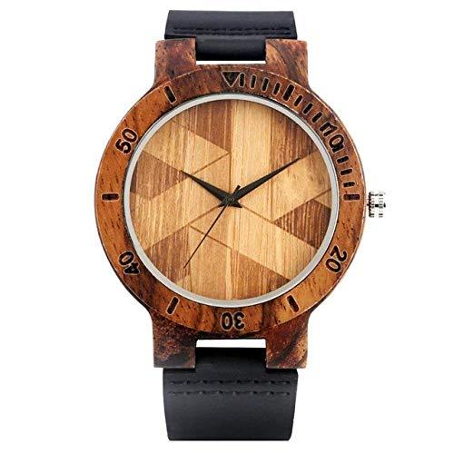 Relojes Reloj de Madera Reloj Vintage con patrón geométrico Irregular Reloj de Madera para Hombre Relojes de Cuarzo para Mujer Reloj Hora Masculina, R