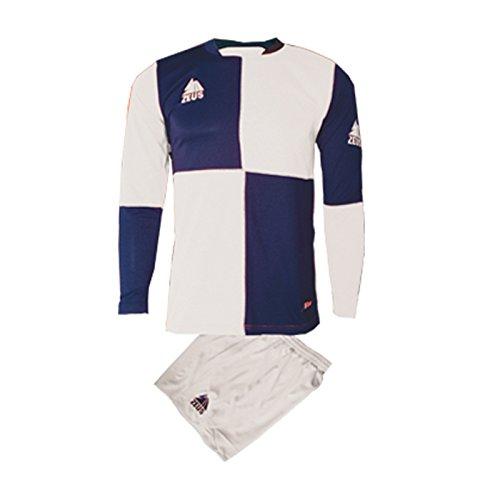 Zeus Herren Kinder Set Trikot Shirt Hosen Klein Armel Kit Fußball Hallenfußball Kit YARIS WEISS BLAU (XL)