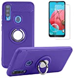 BLU Vivo XL6 Phone Case with Tempered Glass Screen Protector, Rotating Ring [Magnetic Car Mount] [360°Kickstand] Holder Soft TPU Protection Cover Case for BLU Vivo XL6 / BLU V90 / BLU G80 (Purple)
