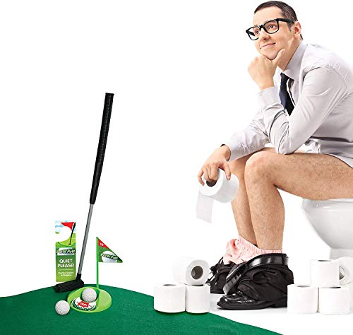 Find Discount Mini Golf Set Toilet Game – Indoor Golf Practice Putting as Potty Putter Bathroom Ga...