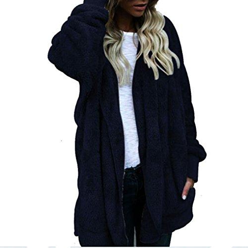 Internet Plüschmantel Damen Lang Mantel Lose Sweatshirt mit Kapuze Langärmelige Einfarbige Strickjacke Jacke mit Taschen Warmen Winter Parka Outwear