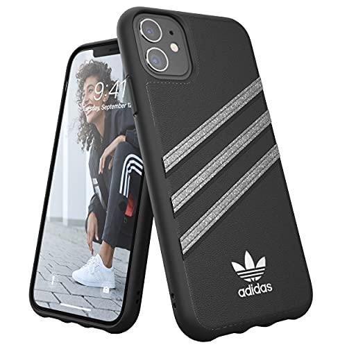 adidas Hülle Entwickelt für iPhone 11, Fallgeprüfte Hüllen, stoßfeste erhöhte Kanten, Original PU Schutzhülle, Zwart/Funkeln
