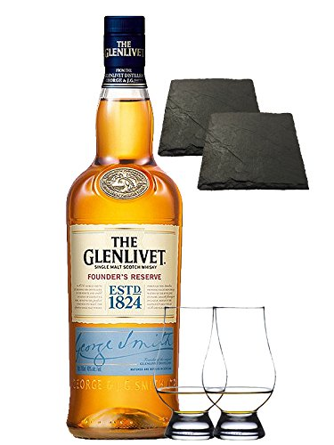 Glenlivet Founders Reserve Single Malt Whisky 0,7 Liter + 2 Glencairn Gläser + 2 Schieferuntersetzer 9,5 cm