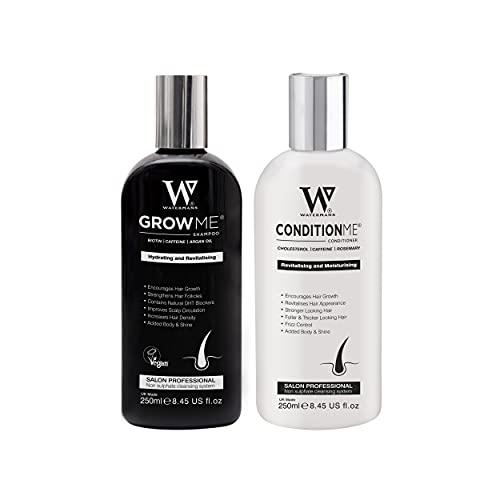 Haarwuchs Shampoo, Haarwuchs-Conditioner Watermans, Biotin, Arganöl, Allantoin, Rosmarin, Niacinamid B3, Lupinenprotein mit vielen anderen Vitaminen für das Haarwachstum.