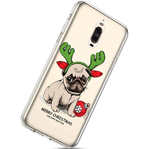 Kompatibel mit Handytasche Huawei Mate 9 Pro Weihnachten Handyhülle Durchsichtig Schutzhülle Silikon Dünn Case Transparent Handyhüllen Kirstall Clear Case Etui TPU Bumper Schale,Hund