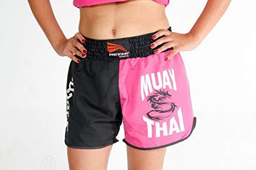 PROGNE SPORTS BR9200 Calção Short para Muay Thai, GG, Rosa (Preto)