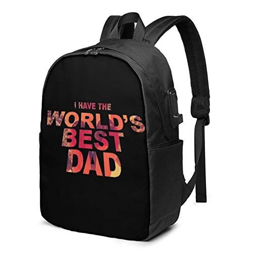 He is My Best Dad Backpack Carry On Bags Laptop Backpack for Travel School Business 17 Inches