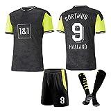 DHRBK Uniforme de fútbol # 9 Camiseta de fútbol Haaland con calcetín de fútbol para Adultos Equipo del Club de niños Fans Kits de Camisetas conmemorativas de fútbol