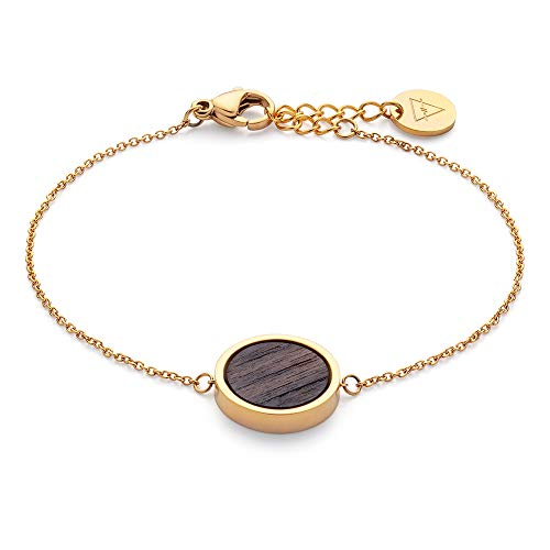 KERBHOLZ Holzschmuck – Geometrics Collection Circle Bracelet, filigranes Frauen Armband in gold mit Kreis Anhänger aus Naturholz, größenverstellbar (Armbandlänge 15 + 2,5 cm)