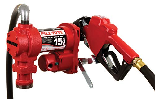 Fill-Rite FR610GA 115V 15 GPM Fuel Transfer Pump with Automatic Nozzle, Discharge Hose, & Suction Pipe
