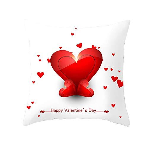 AtHomeShop Fundas de cojín de 50 x 50 cm, de poliéster, con texto 'Happy Valentine's Day' con corazón, suave, cómoda, cuadrada, para oficina, sofá, decoración, color rojo y blanco, estilo 12