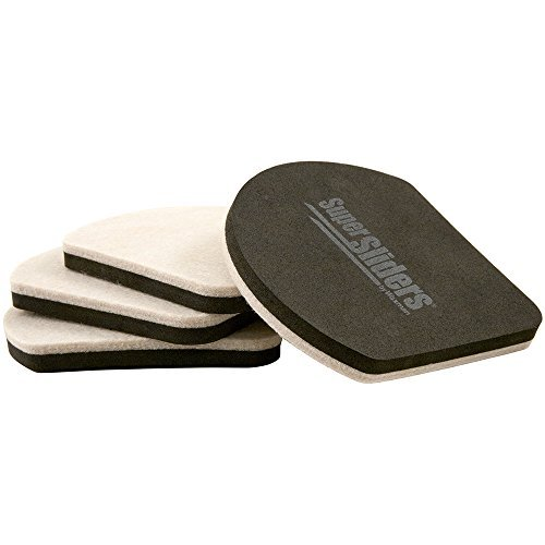 Reusable Felt Slide & Hide Furniture Movers for Hard Floor Surfaces (4 piece) - 5 SuperSliders by Super Sliders