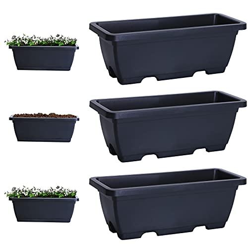 EKKONG 3 Stück Pflanzkasten für Paletten,pflanzkasten,blumenkästen für europalette,blumenkasten Balkon,aus hochwertigem Kunststoff. Anti-ultraviolett, wetterfeste pflanzenbox. (Dunkelgrau)