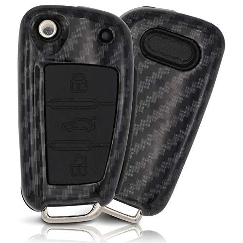 ASARAH Premium ABS Autoschlüssel Hülle kompatibel mit Audi - Edles Carbon Design mit Silikonschutz für Tasten - Carbon AI 3BKB-b