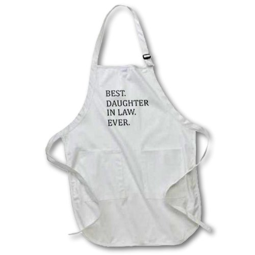 3dRose apr_151493_1 Best Daughter in Law Ever-Gifts for Family and Relatives-In-Laws-Full Length Apron with Pockets, 22 by 30-Inch, White