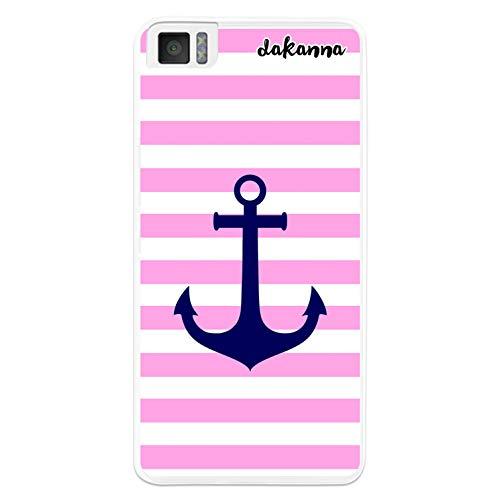 dakanna Kompatibel mit [Bq Aquaris M4.5 - A4.5] Flexible Silikon-Handy-Hülle [Transparent] Meeresanker mit weissen & rosa Streifen Design, TPU Hülle Cover Schutzhülle für Dein Smartphone