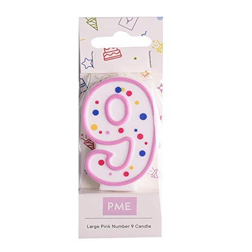 PME CA089 Kerze, Rosa, Nummer 9, Kunststoff, Pink, 4 x 1 x 6.3 cm