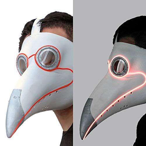 PartyHop White Plague Doctor Mask Light up, LED Bird Beak Steampunk Gas Costume