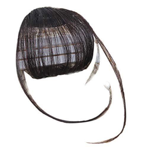 JIACUO Femmes Filles Look Naturel Cheveux Synthétiques Raides Plat Mini Air Bangs Frange Clip-in Postiche Extension Styling Accessoires