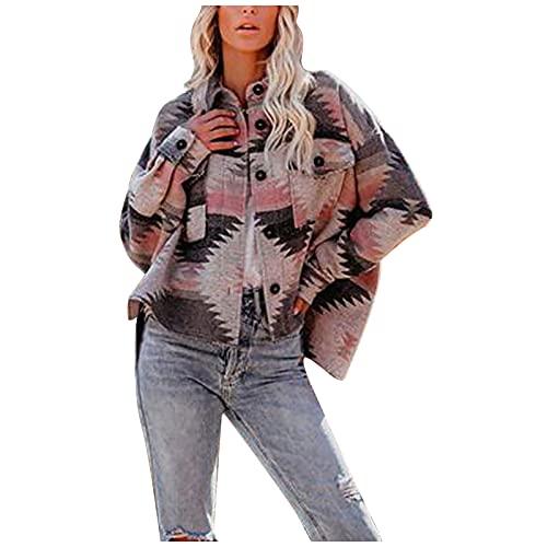 SIOPEW Damen Winter Mantel Parka Fashion Retro Ethno Geometrischer Print Langarm Woll Frauen Outdoor Klassisch Casual Winddicht Jacke
