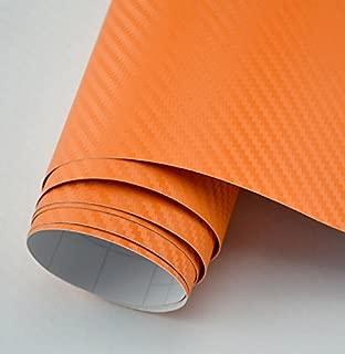 DIYAH 3D Orange Carbon Fiber Film Twill Weave Vinyl Sheet Roll Wrap DIY Decals 12