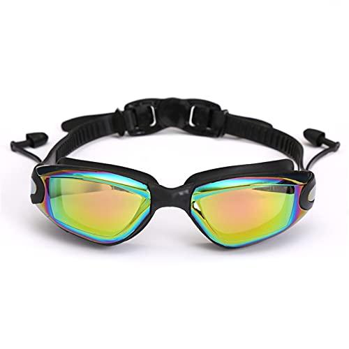 JKLO Adluts Silicone Natación Gafas Gafas de natación con Tapones for los oídos y Clip de Nariz electroplato Negro/Gris/Azul 910 (Color : Black, Size : One Size)