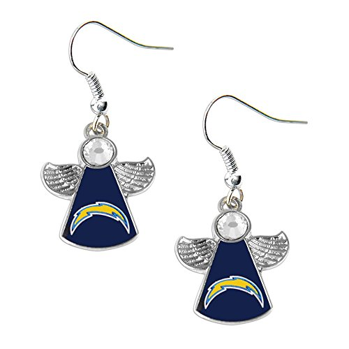 Sports Team SAN Diego Chargers Logo Crystal Angel Wings Dangle Earring Set