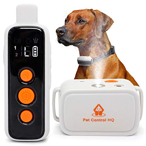 Dog Bark Collar Training w/ Remote - Citronella Non-Shock Anti Barking Control & Deterrent Spray (Small, Medium, Large) Humane Shockless, Harmless, Stop Whining, Rechargeable Outdoor Trainer Device
