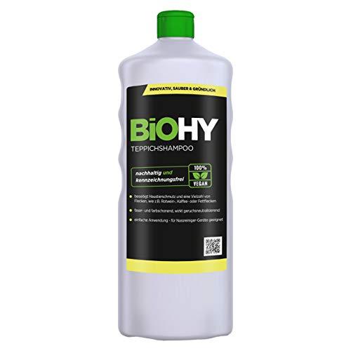 BIOHY Teppichshampoo (1l Flasche) | Teppichreiniger ideal zur Entfernung von hartnäckigen Flecken | SPEZIELL FÜR WASCHSAUGER ENTWICKELT