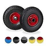 Relaxdays Set de Dos Ruedas de Carretilla, Neumático de Goma 3.00-4, Eje de 25mm, hasta 100 kg, Negro-Rojo