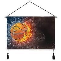 GEEVOSUNタペストリー 火の水の稲妻のバスケットボールボール 壁掛けポスター おしゃれ インテリア モダン 多機能 お店 壁や窓の飾り 個性ギフト 新居祝い