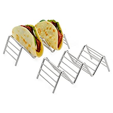 Taco Holder, Amazer Taco Stand Stainless Steel Rustproof Taco Rack Hold 2 or 3 Hard or Soft Taco Shells Taco Truck Tray Style Oven Safe for Baking - 2 pack