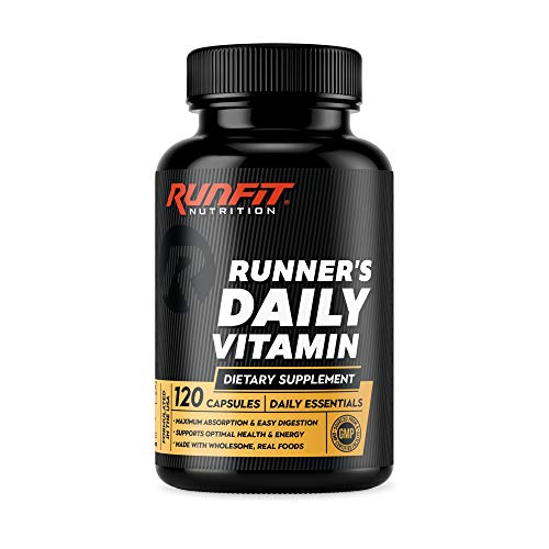 Runner's Daily Vitamin - Multivitamin for Runners - Boosts Energy & Endurance - Immune Support - Made from Real Foods & Gentle on Your Stomach - 120 Liquid-Filled Caps - 2 Month Supply!