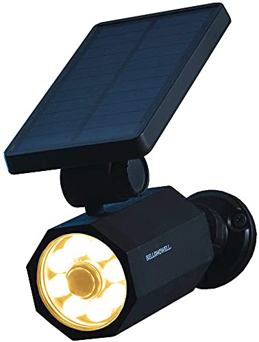 Bell+Howell Bionic Spotlight Warm Solar-Powered Motion-Sensored Indoor and Outdoor Lights ,Waterproof Wireless Easy Installation, Perfect for Front Doors, Garages, Patios, Yard