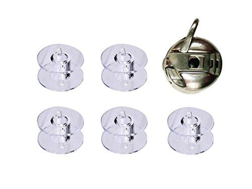 Univ 5CANILL1CANILL Conjunto de 5 Canillas de Plástico con Canillero Metálico para Maquinas de Coser