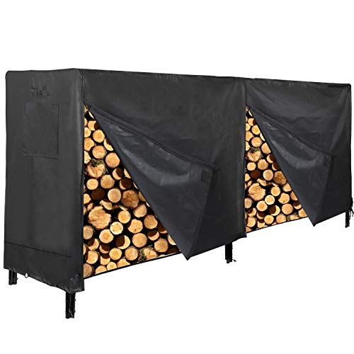 CAMPMAX Firewood Covers 4 and 8 Feet Thick Oxford Waterproof Heavy Duty Log Rack Covers Outdoor Black