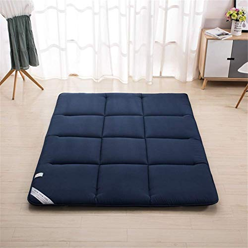 EOVL Bed Futon Mattress Topper, Breathable Sleeping Pad,Portable Soft Tatami Floor Mat, Japanese Foldable Thick Crawling Mat for Student Dormitory, Home,Blue,100x200cm(39x79inch)