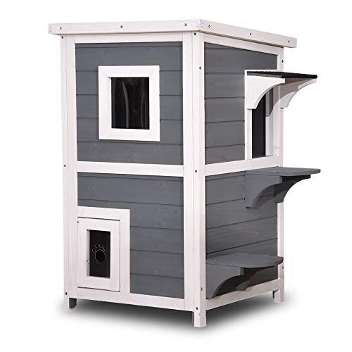 Lovupet 2 Story Wooden Outdoor/Indoor Cat Shelter House Condo with Escape Door 6012-0508 (Grey)