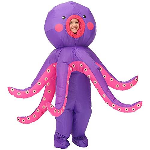 Anoauit Disfraces de Carnaval de Halloween Mueca de Dibujos Animados Da de los nios Calamar Pulpo Ropa Inflable, Fiesta de cumpleaos Disfraz de Cosplay de Rendimiento Divertido-Pulpo_El 120-140cm