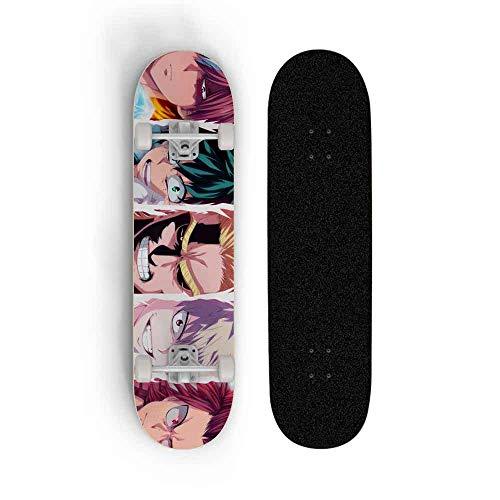 JXEXF Teenager Standard Skateboard My Hero Academia: Midoriya Izuku Boy Cuatro Ruedas Skill Deck Principiante Doble Inclinación Skateboard Anime Skateboard, Scooter Adulto Profesional Skateboard
