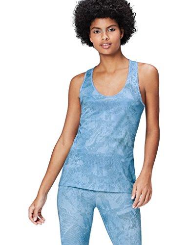 Activewear Top Damen, Blau (Graduated Pixel Print AOP), 38 (Herstellergröße: Medium)